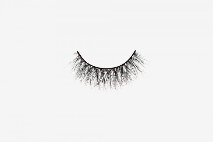 Eva Mink Lashes, single mink false lash on grey background