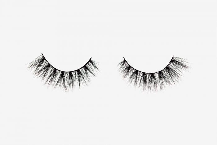 Lola Mink Lashes, two false eyelashes side by side on grey background