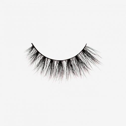 Lola Mink Lashes, single false lash on grey background