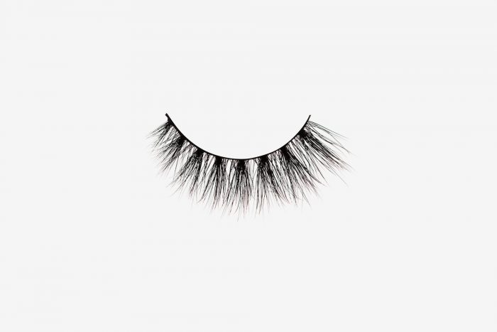 Lola Mink Lashes, single false lash on grey background