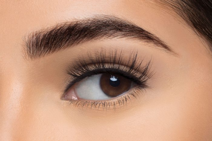 Nina Mink Lashes, close up of ladies eye wearing false eyelash