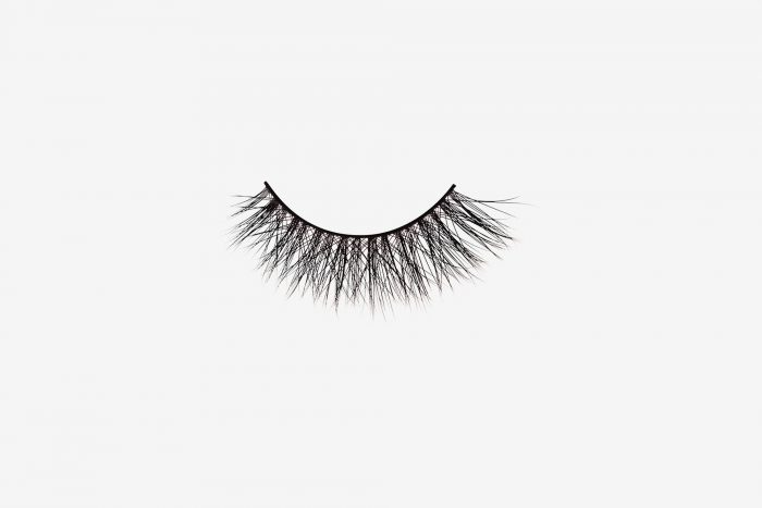 Olivia Mink Lashes, single false lash on grey background