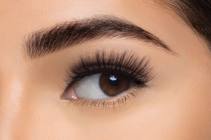 Savanna Mink Lashes, close up of ladies eye wearing false eyelash