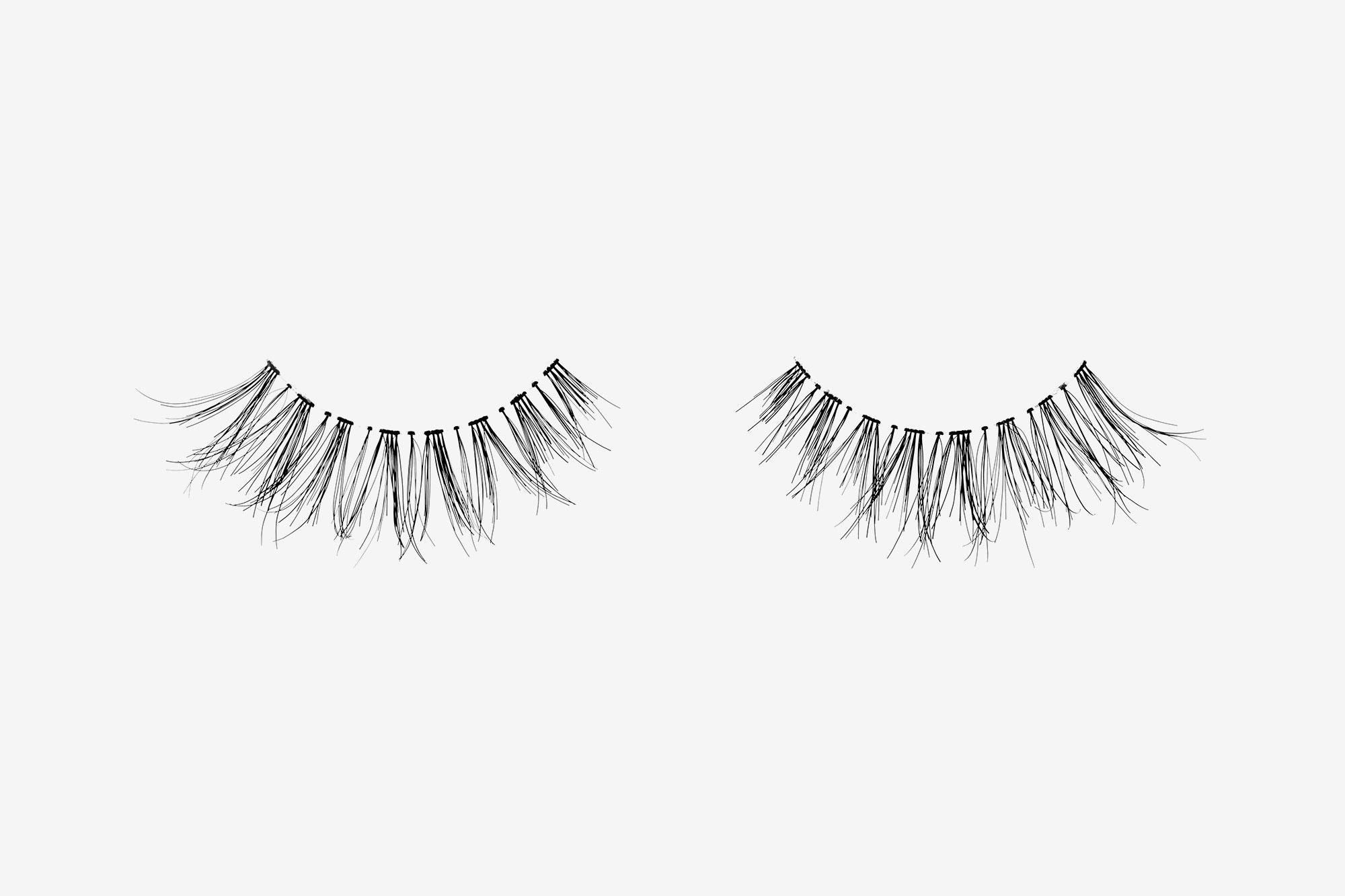 Carey False Eyelashes, pair of false eyelashes side by side on grey background